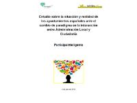 Elaboración del Estudio sobre la situación y realidad de los Ayuntamientos españoles ante el cambio de paradigma en la interacción entre Administración local y ciudadanía: ParticipaInteligente